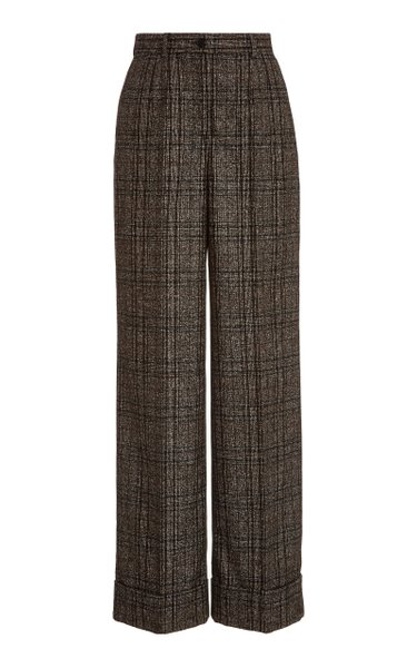 Pleated High-Rise Plaid Wide-Leg Trousers