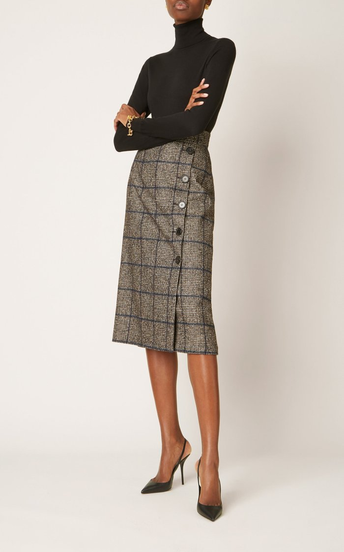 Plaid High-Rise Wool-Blend Skirt