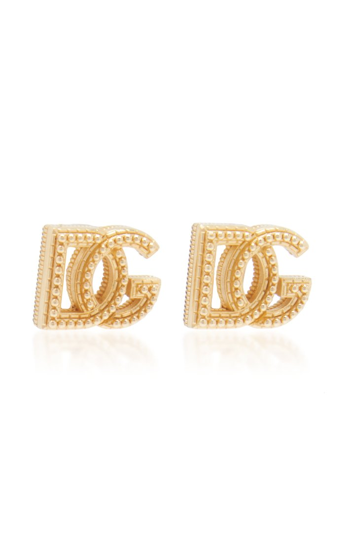 Country Logo Gold-Tone Brass Clip-On Earrings