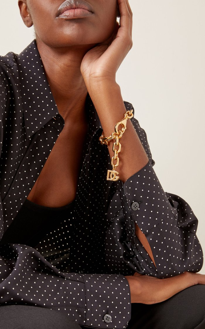 Country Logo-Detailed Gold-Tone Brass Chain Bracelet