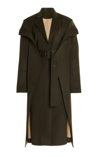 Convertible Belted Wool-Blend Coat