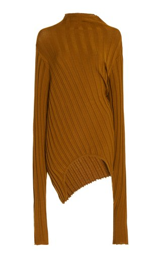 Asymmetric Ribbed-Knit Sweater