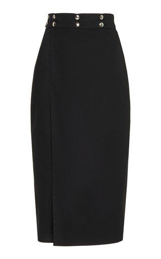 Embellished Cotton-Twill Midi Skirt