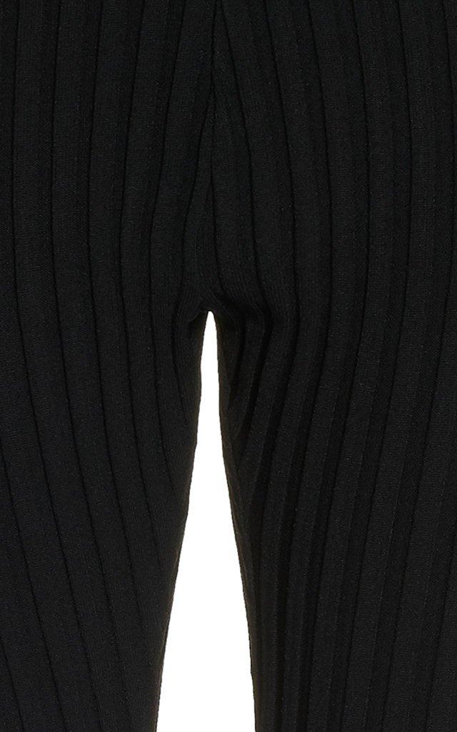 Cutout Ribbed-Knit Leggings