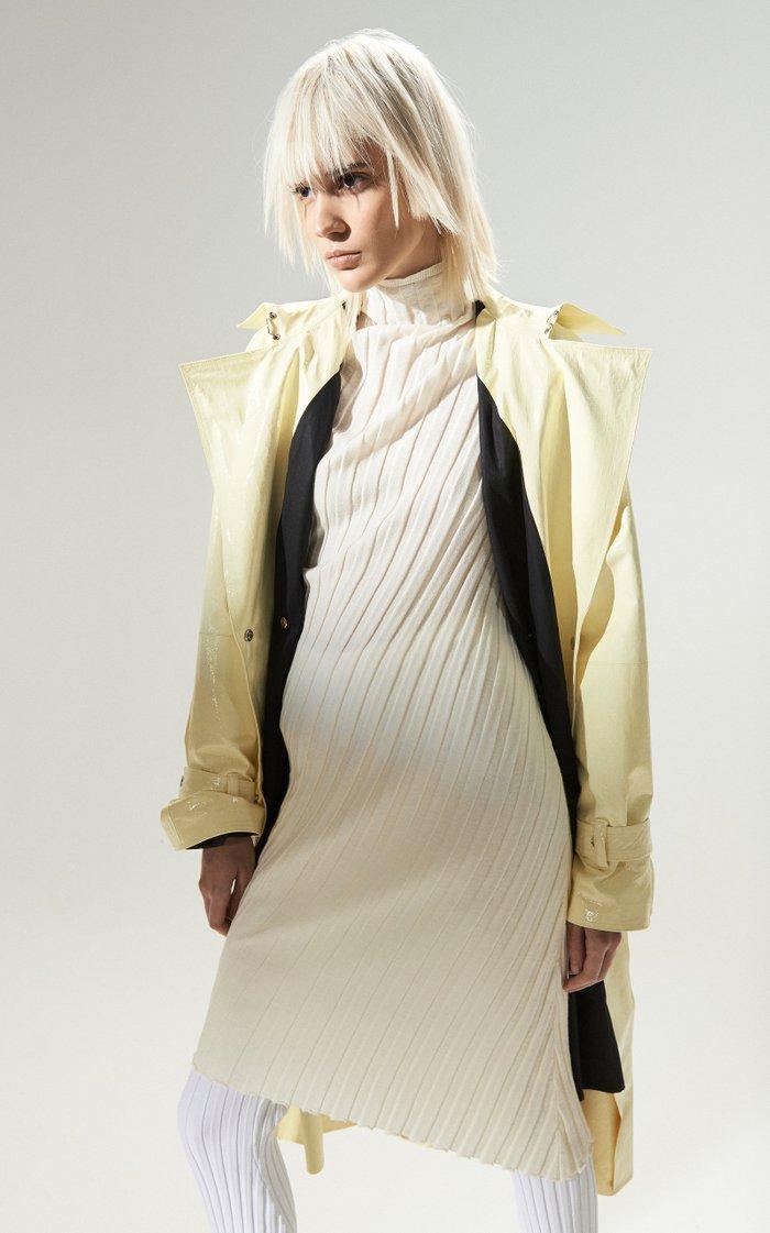 Asymmetric Ribbed-Knit Turtleneck Dress
