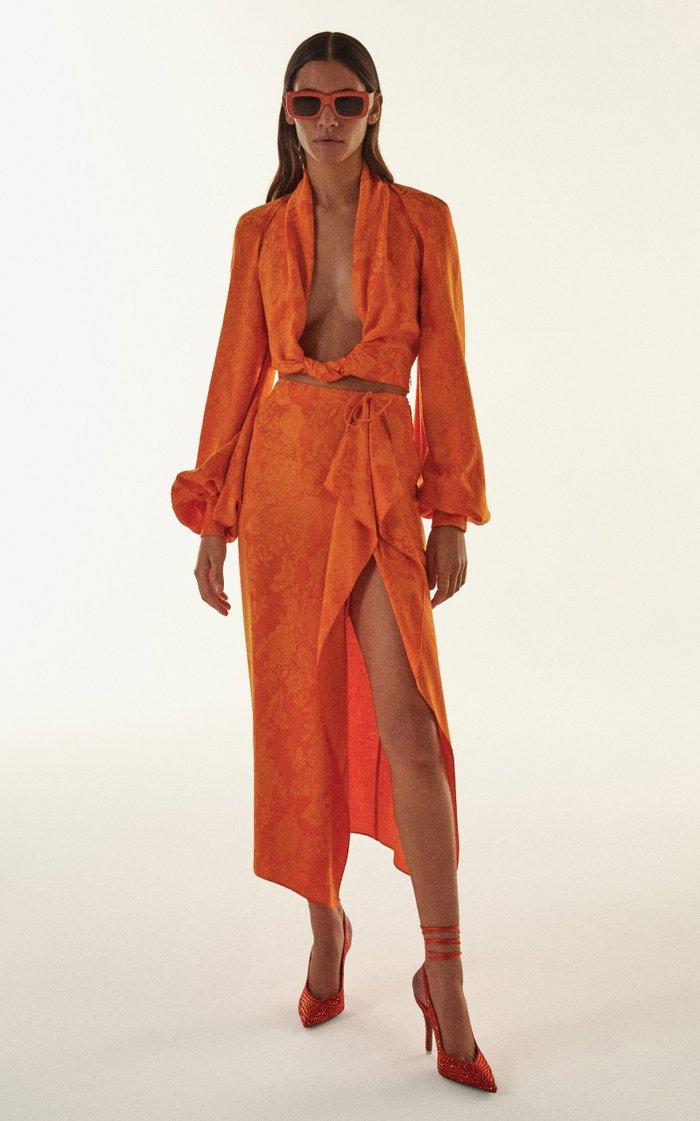 Tie-Detailed Draped Satin-Jacquard Midi Skirt