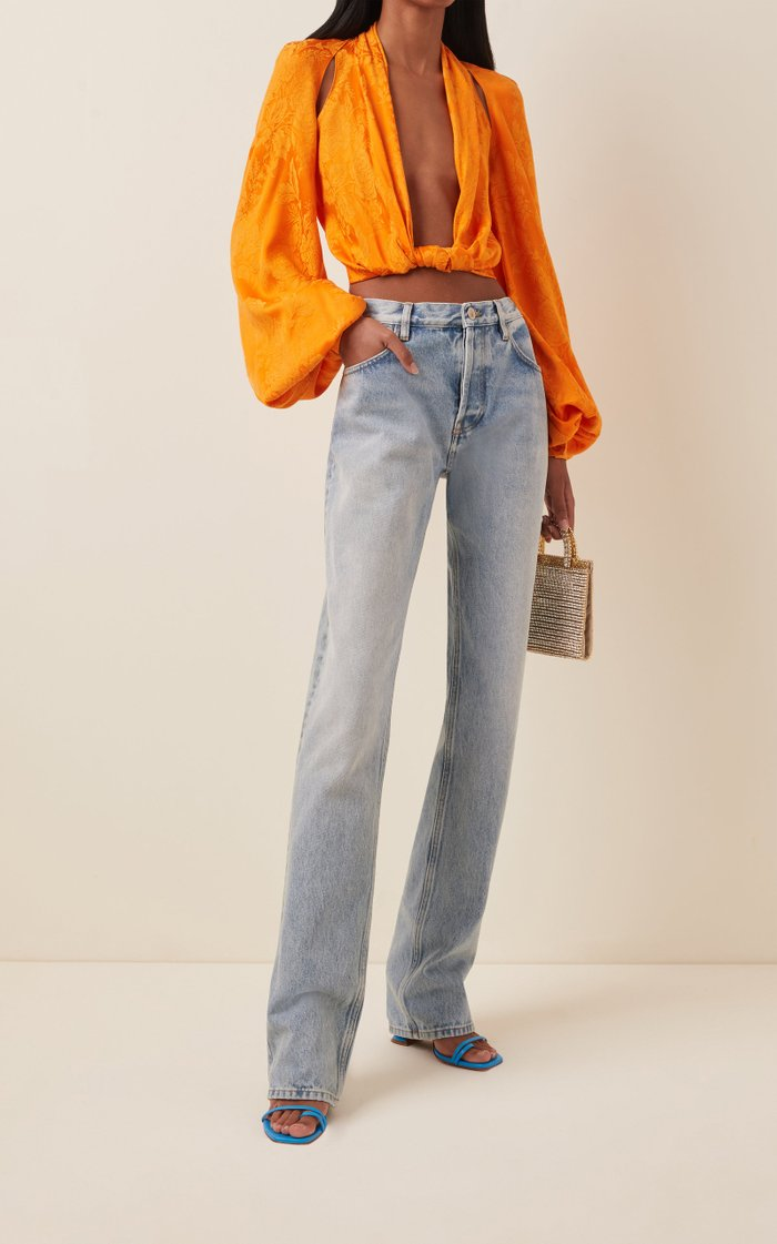 Knotted Cropped Satin-Jacquard Blouse