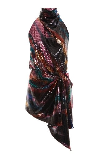Draped Sequined Chiffon Mini Dress