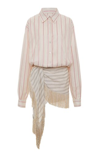 Striped Fringed Poplin Mini Dress