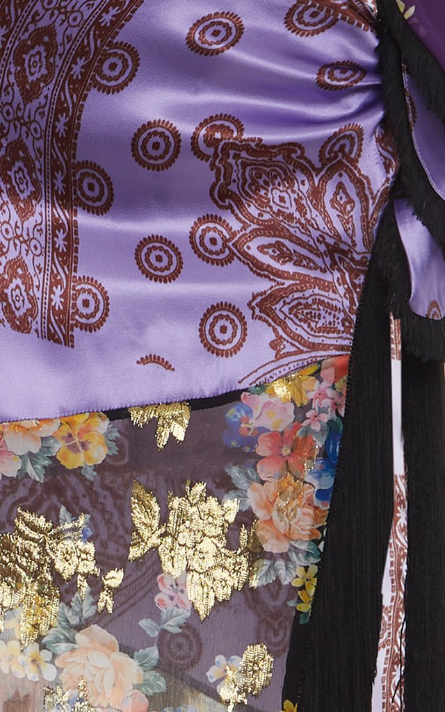 Fringed Paneled Silk-Chiffon Maxi Skirt