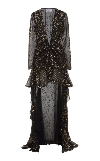 Asymmetric Printed Chiffon Maxi Dress