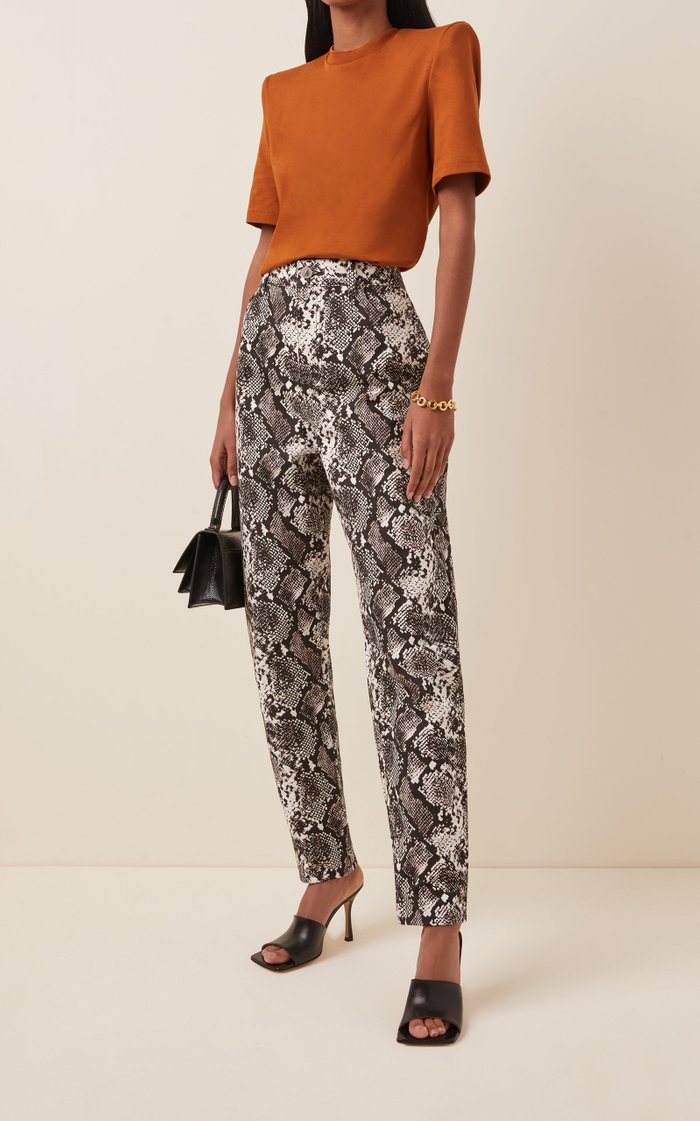 Printed Straight-Leg Leather Pants