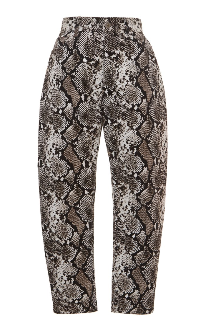 Printed Straight-Leg Leather Pants