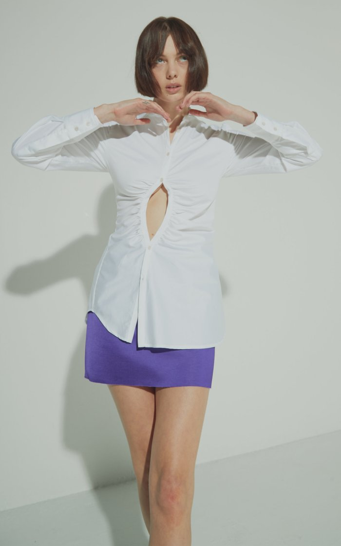 Universe Ruched Cut-Out Cotton Shirt