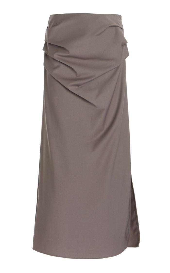 Draped Wool-Blend Maxi Skirt