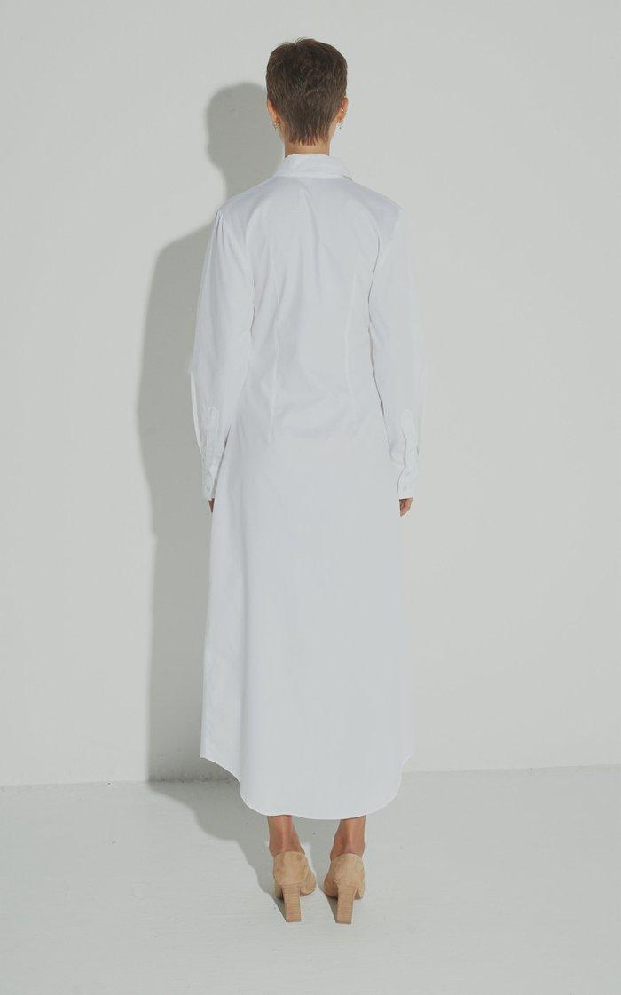 Universe Ruched Cutout Cotton-Poplin Dress