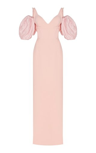 SpecialorderSatin-Paneled Crepe Gown-CG
