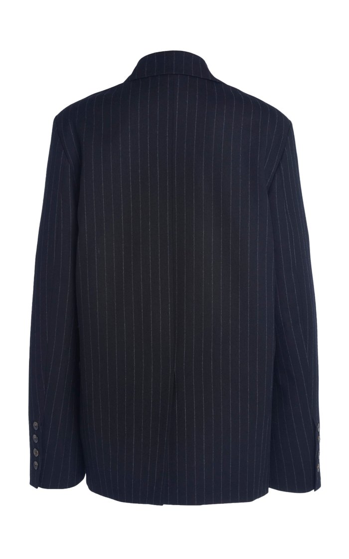 Ficaja Oversized Pinstriped Wool Double-Breasted Blazer