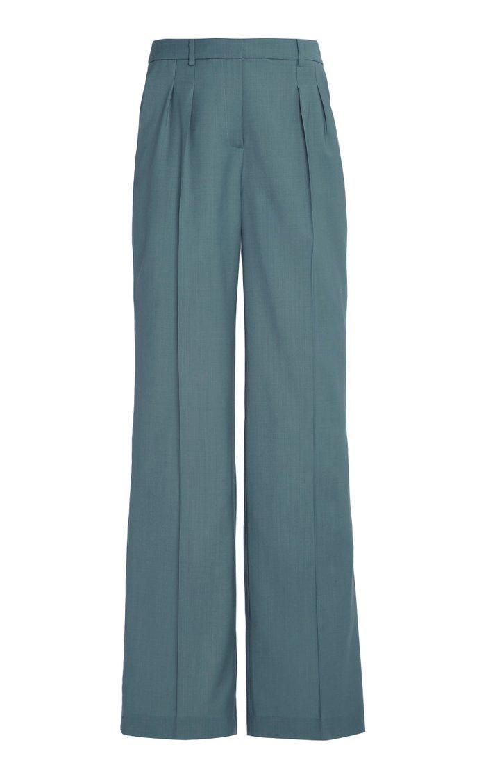 Sbiru Wool Pleated Wide-Leg Pants