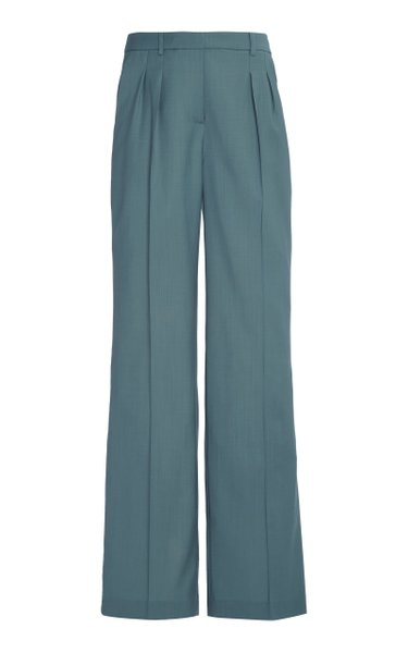 Sbiru Wool Pleated Wide-Leg Pants