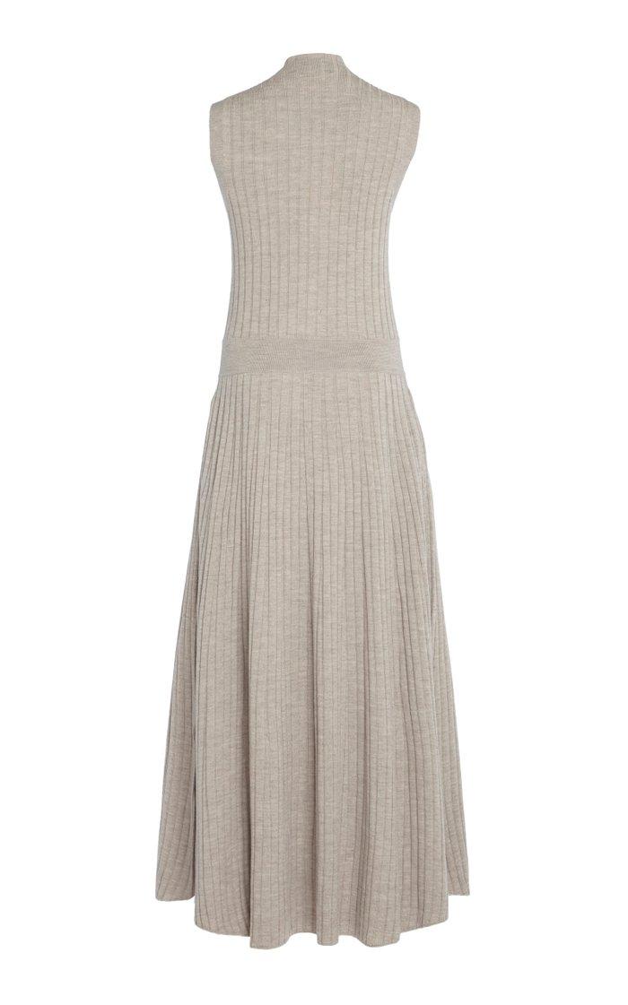 Arborea Button-Embellished Ribbed Merino Wool Maxi Dress