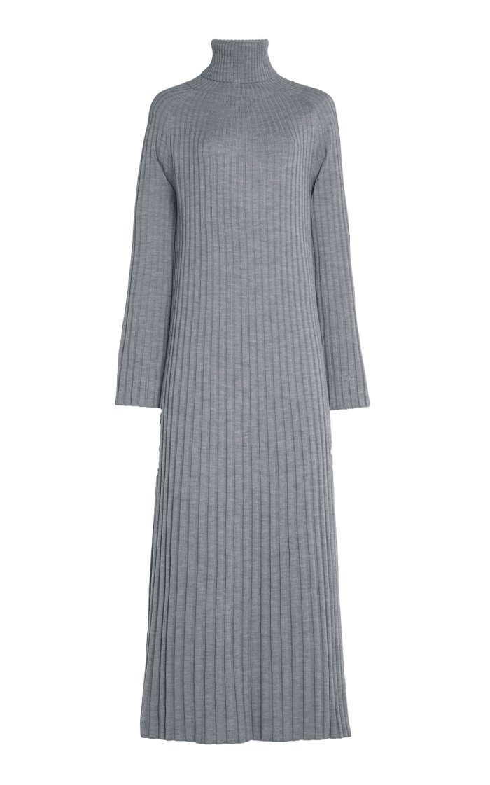 Oristano Ribbed Merino Wool Turtleneck Maxi Dress