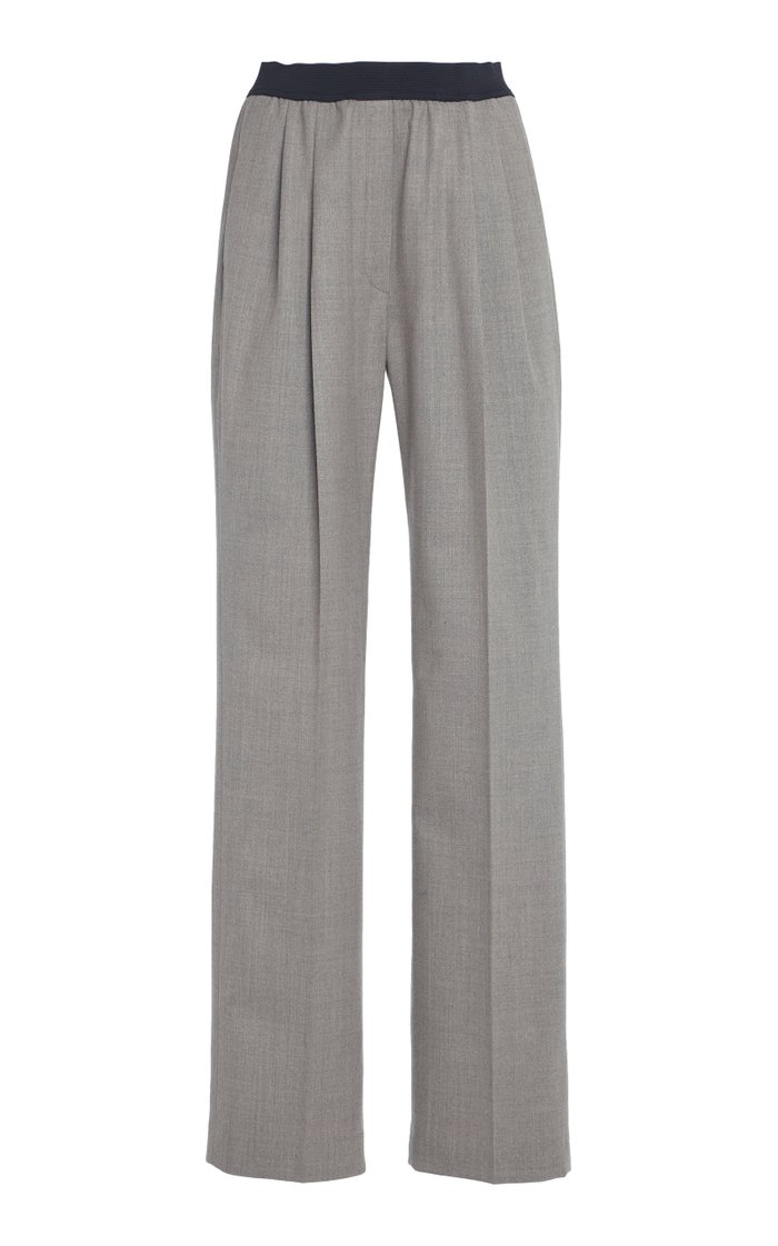 Moretta Stretch-Wool Straight-Leg Pants