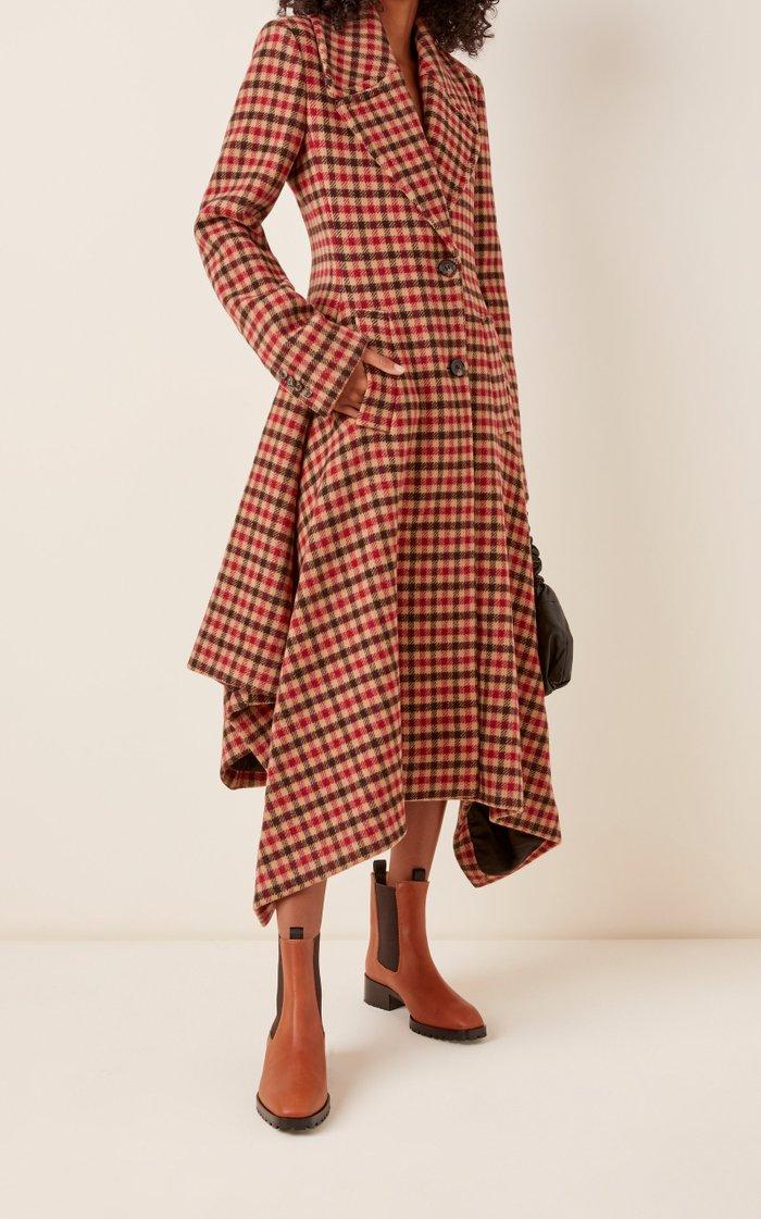Asymmetric Checked Woven Coat