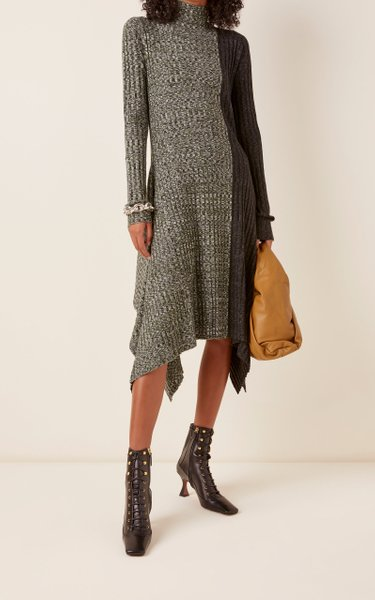 Asymmetric Two-Tone Midi Sweater Dress