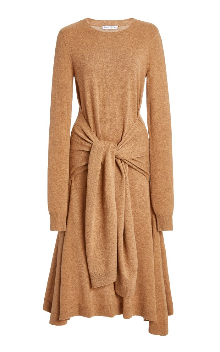 Tie-Detailed Merino Wool Midi Dress