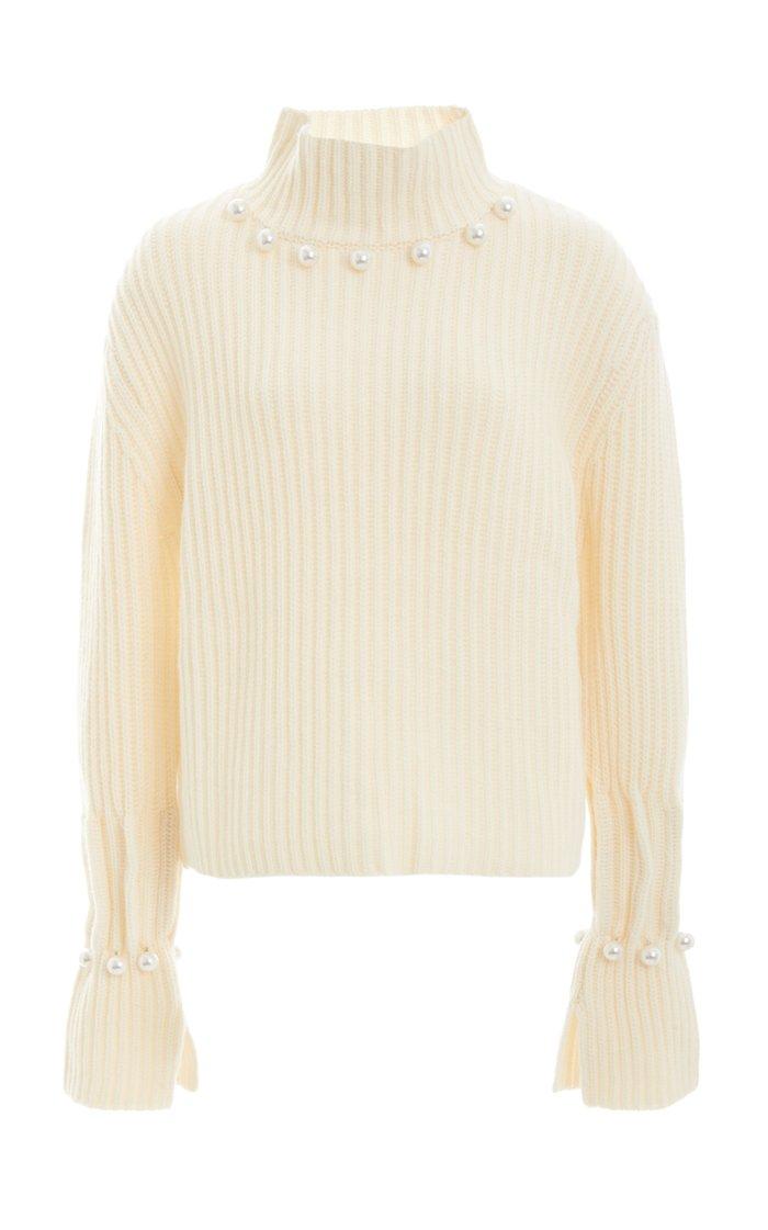 Pearl-Embellished Wool-Cashmere Turtleneck Sweater