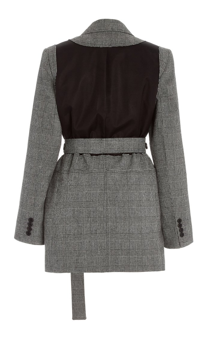 Belted Checked Patchwork Wool-Blend Jacket