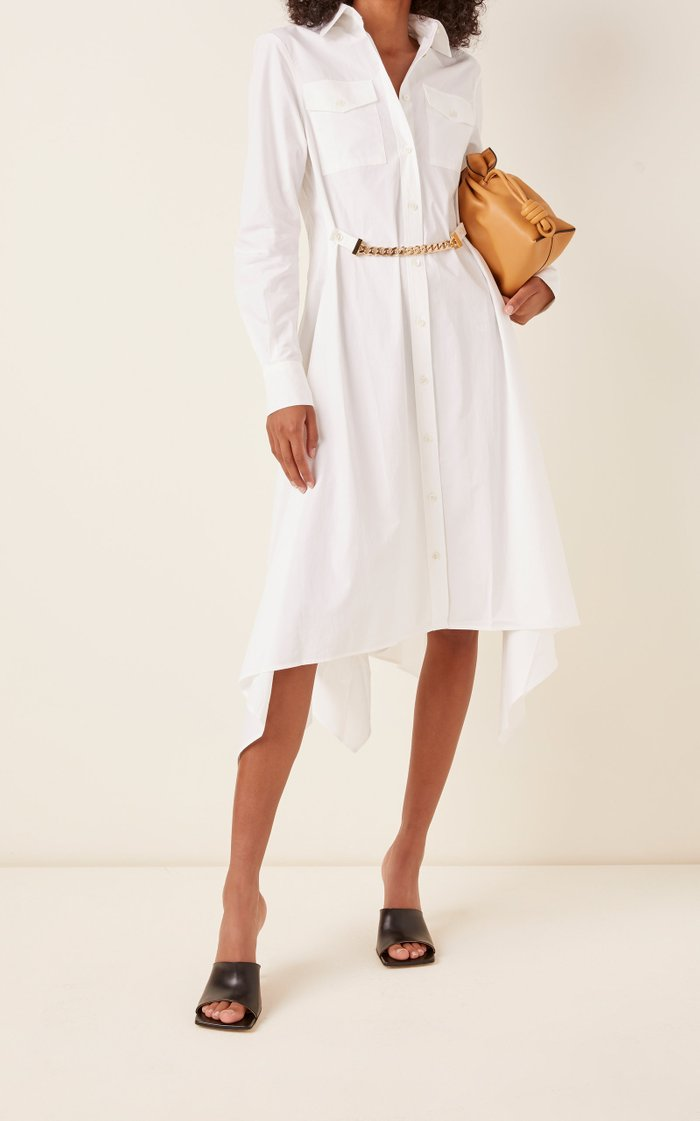Embellished Asymmetric Cotton-Poplin Midi Dress