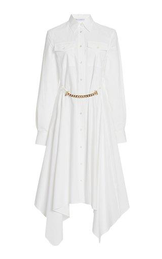 Embellished Asymmetric Cotton-Poplin Midi Dress