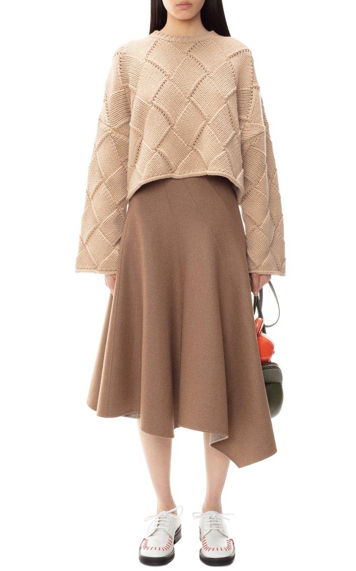Oversized Woven Wool-Blend Sweater