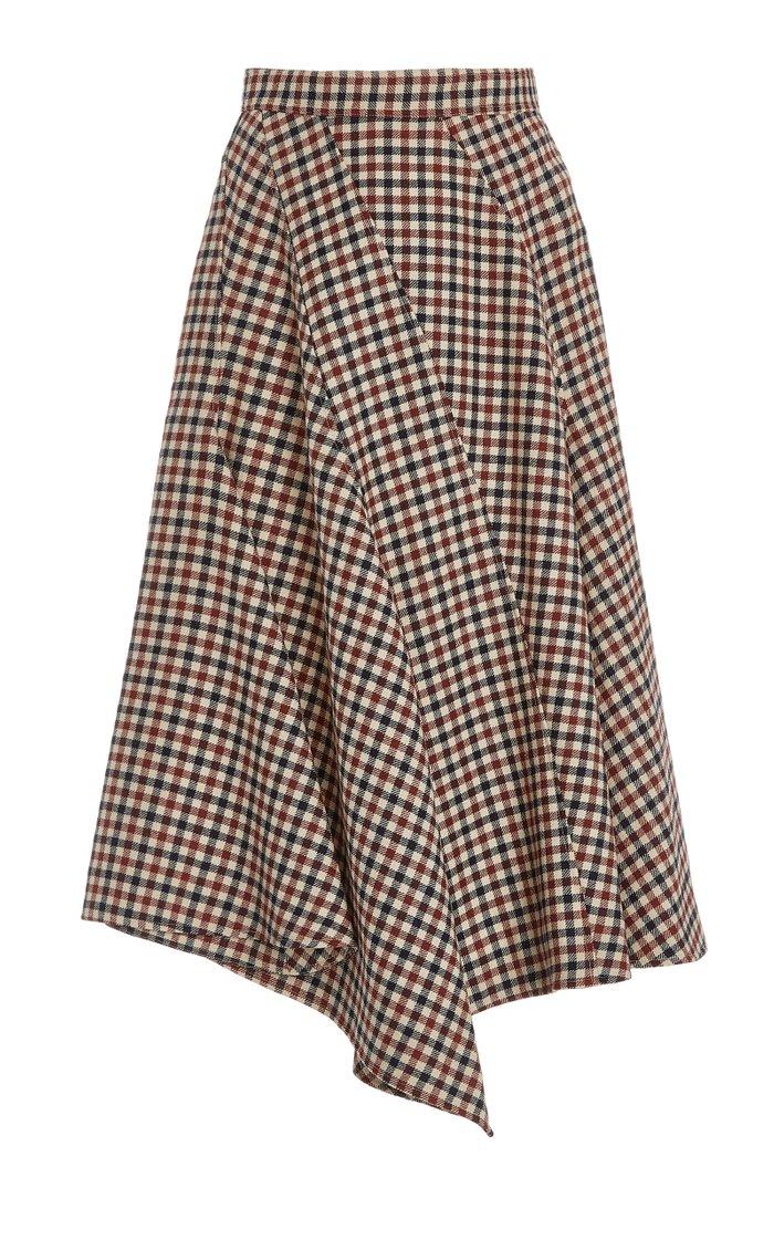 Checked Wool Midi Skirt