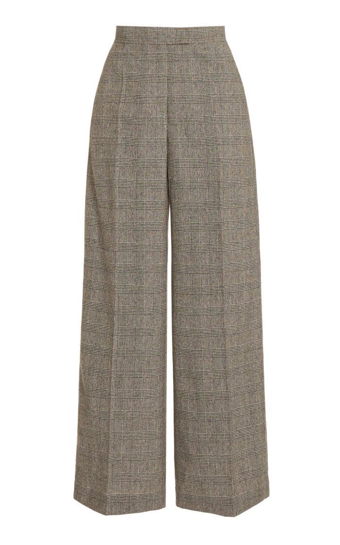 Checked Wool-Blend Wide-Leg Pants