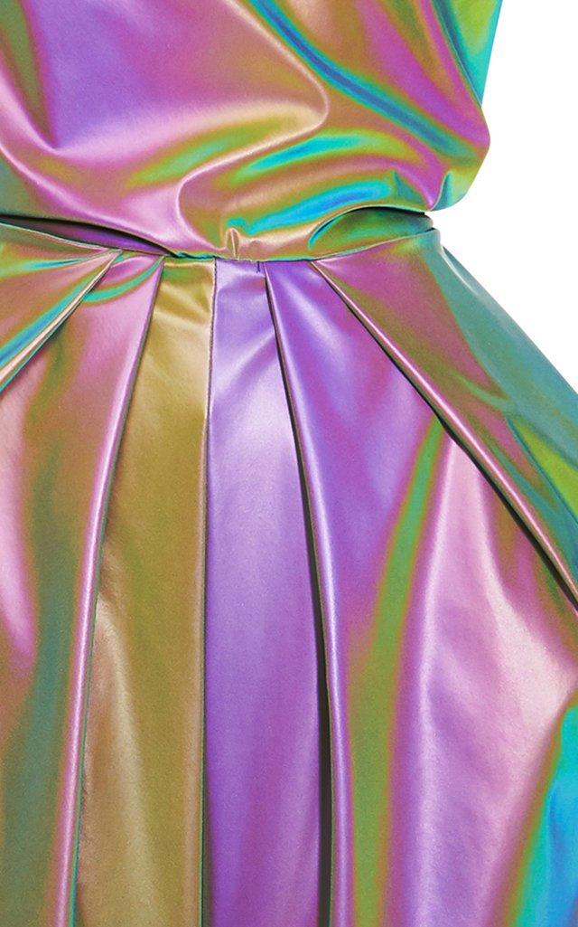 Painterly Draped Metallic Gown