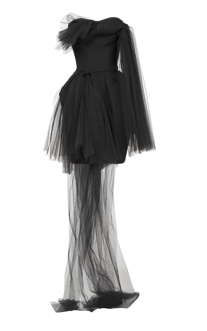 Evermore Asymmetric Tulle Mini Dress
