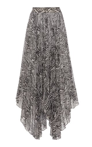 Alena Zebra-Print Pleated Georgette Skirt