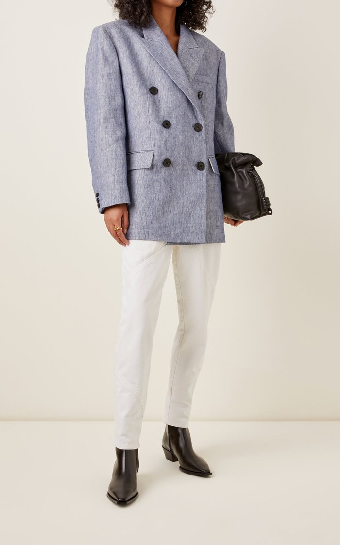Lhermine Wool and Cotton-Linen Double-Breasted Blazer