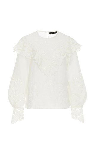 Eloine Lace-Trimmed Broderie Anglaise Linen Blouse