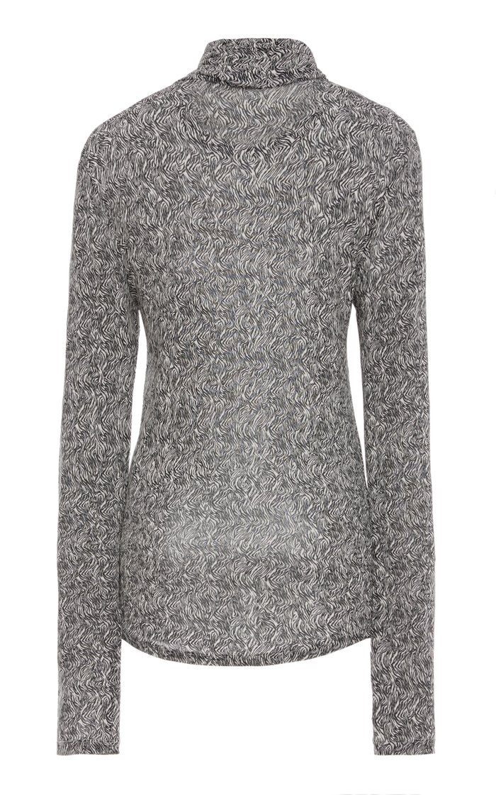 Goyela Printed Stretch-Knit Turtleneck Top