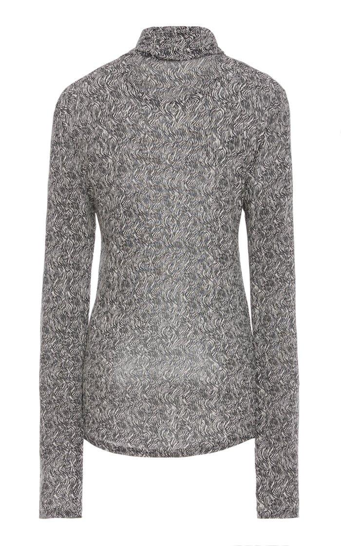 Goyela Printed Stretch-Knit Turtleneck Top