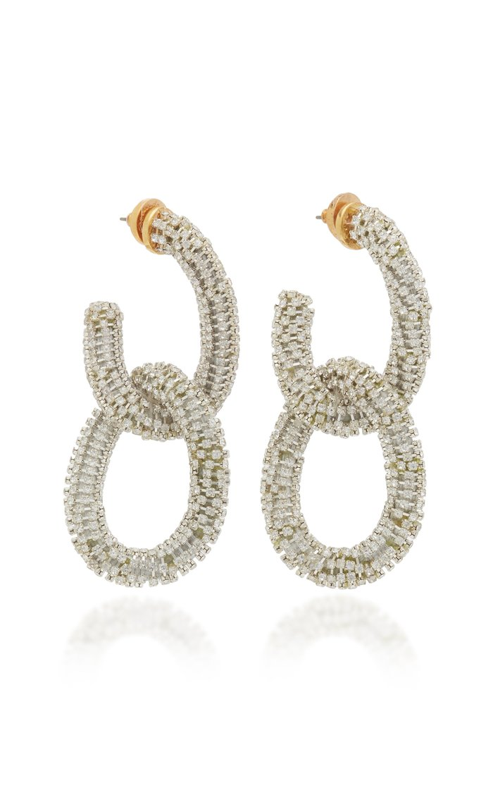 Crystal-Embellished Chain-Link Drop Earrings