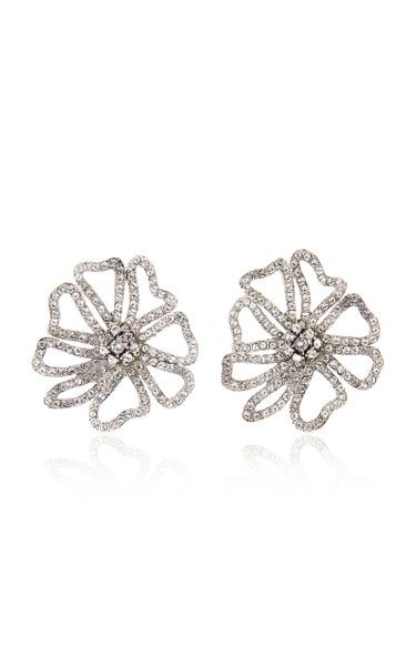 Pavé-Crystal Flower Earrings