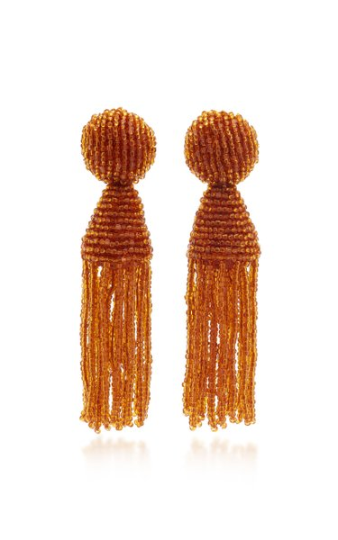 Beaded Tassel Clip-On Drop Earrings