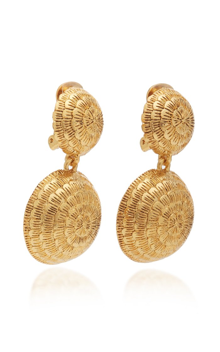 Gold-Tone Dome Clip-On Drop Earrings