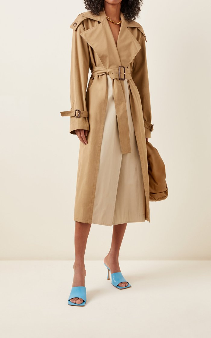 Two-Tone Cotton Trench Coat