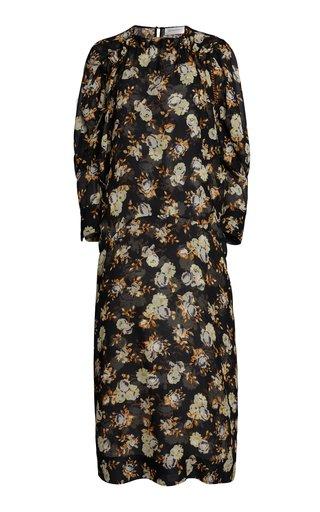 Printed Silk Midi Dress